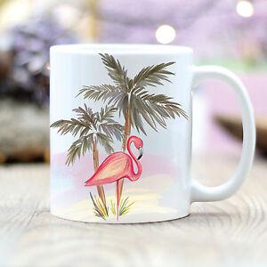 T154-wandtattoo-loft-Taza-de-Cafe-Rosa-FLAMENCOS-PALMAS-Exotico-Motivo