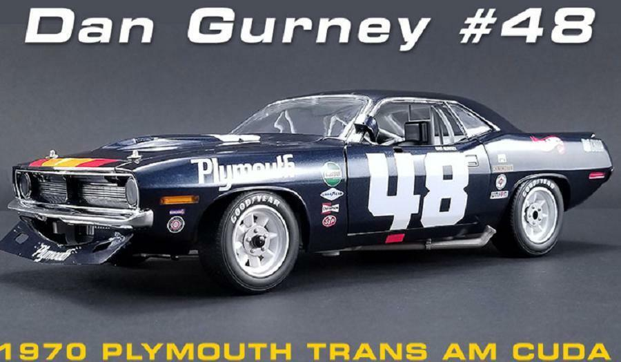 ACME 1:18 1970 Plymouth Trans Am Cuda Dan Gurney  48 Diecast Model Car A1806101