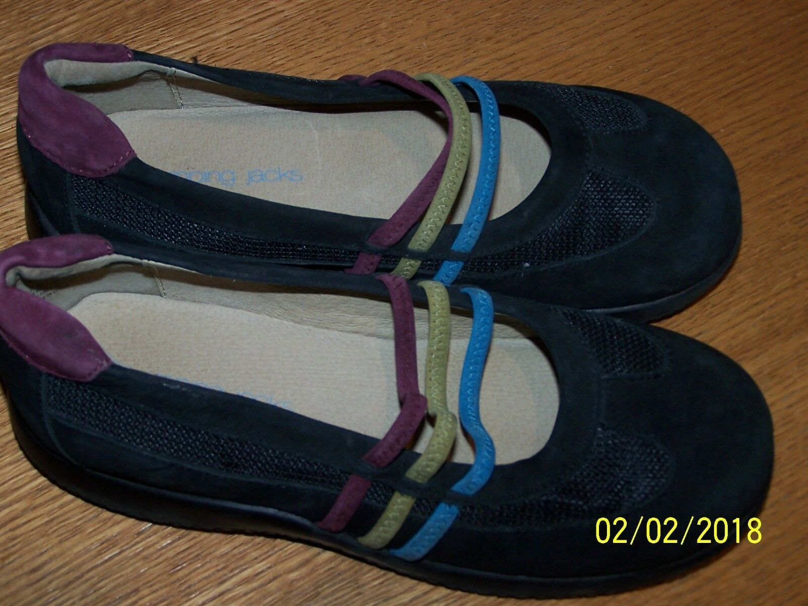 JUMPING JACKS MARY YOUTH BLACK SUEDE LEATHER MARY JACKS JANES MULTI-COLORED STRAPS SZ 2M d3e718