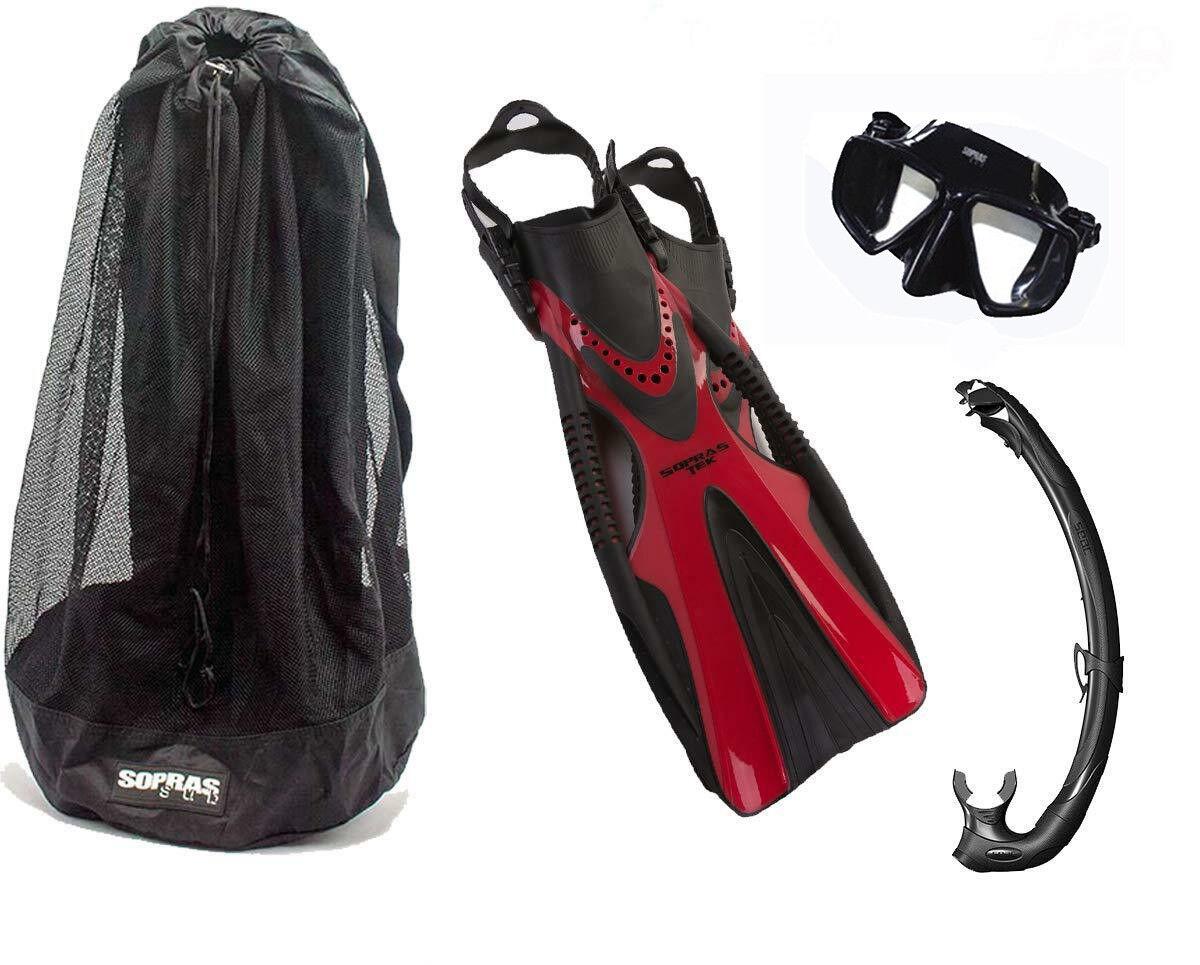DXDiver Sopras Power Fins COMODA Mask and  Seac K2 Snorkel with Sopras Sub BAG