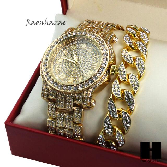 Hip Hop Iced Out Techno Pave Watch   Cuban Stone Chain Bracelet Combo Set  GS155 d1cbe2d7b