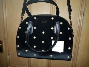 terciopelo tachas Bolsa de Nuevo y laurel Kate desmontable negra Way perla Spade de con de correa 40ww5