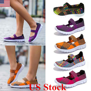 US-Women-Ladies-Slip-On-Elastic-Flat-Shoes-Summer-Breathable-Casual-Sandals-Size
