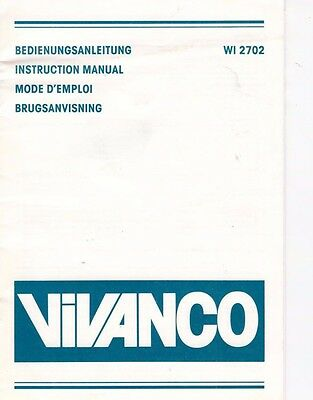 B3499 Bedienungsanleitung Instruction Manual Wi 2702 Diszipliniert Vivanco