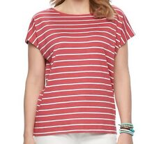 Chaps Women Striped Bar Back Short Sleeve Blue Red Top Tee Shirt Plus 1X 2X NWT