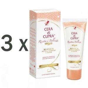 Cera-di-Cupra-Bianca-Crema-Normale-amp-pelle-Grassa-3x-75ml-Cera-D-039-Api-Glicerina