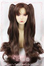 """Fate/Stay Night Tohsaka Rin 32"""" Long Wavy Cosplay Wig 2clips Ponytails"""