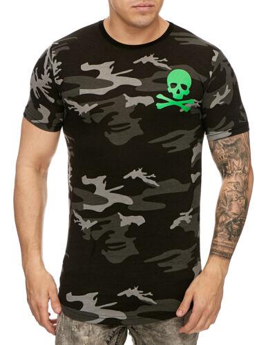 Hommes Camouflage T-shirt noir vert Skull Col Rond Shirt Slim Fit John Kayna