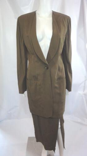 DONNA KARAN Black Label Olive Skirt Suit size 8