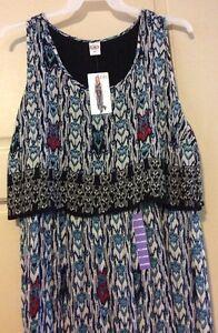 New-Women-039-s-Dress-Blue-Tribal-Empire-Long-Sleeveless-68-XXL-2X-1X-Flattering