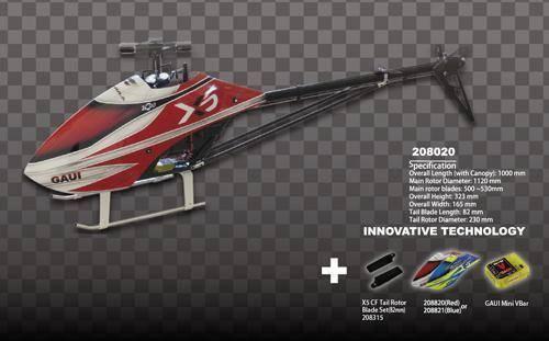 Combo Gaui X5 un Kit (Gaui Mini Vbar, X5 Formula Canopy, CF 82 Mm Hoja De rojoor De Cola