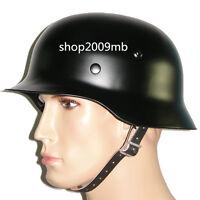WWII German Black M35 Steel Motorcycle Helmet Army Field Helmets Collectable
