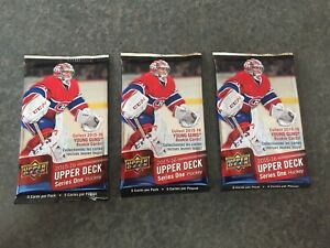 2015-16-UPPER-DECK-SERIES-1-HOCKEY-3-SEALED-RETAIL-BLASTER-5-CARD-PACKS