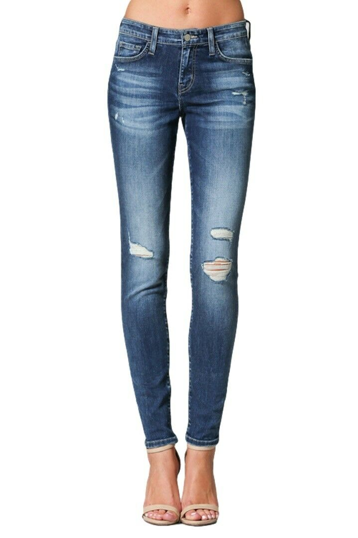 Flying Monkey bluee Canyon Distressed Medium Wash Skinny Jeans Y2530