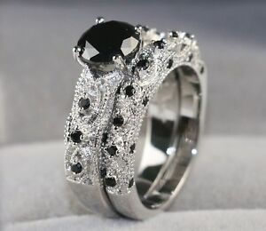 White Gold Filled 1CT Black Sapphire Onyx Womens Wedding Ring Sets Band Sz6 9