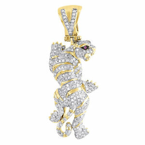 Diamond-Panther-Pendant-Mens-10K-Yellow-Gold-Round-Pave-Animal-Charm-0-93-Tcw