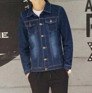 Automne-Hommes-039-s-Retro-Slim-Fit-Manteau-Jean-Veste-en-Jean-Casual-Coats-Outerwear