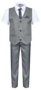 Boys-Waistcoat-Set-Grey-Boys-Wedding-Suit-Page-Boy-Party-Prom-9-mths-to-14-Years