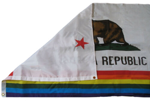 3x5 California Rainbow Republic Flag Woven Polyester Knitted flag 3/'x5/' banner