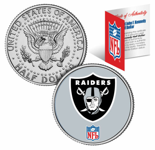 OAKLAND RAIDERS NFL Logo JFK Half Dollar U.S Coin Officially Licensed w//COA