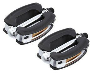 "New Bicycle Krate Rubber Pedals 9//16/"" Black//Chrome."