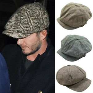 1d0f08dcfe Details about Men's Baker Boy Peaky Blinders Newsboy Flat Cap Herringbone  Gatsby 8 Panel Hat