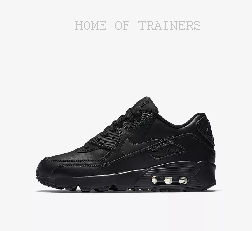 Nike Air Max 90 Leather Noir Kids Boys Girl Trainers All Sizes