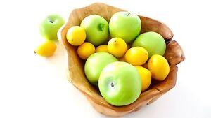Basket Acacia Wood H Quality With Plastic Fruit Apple Lemon