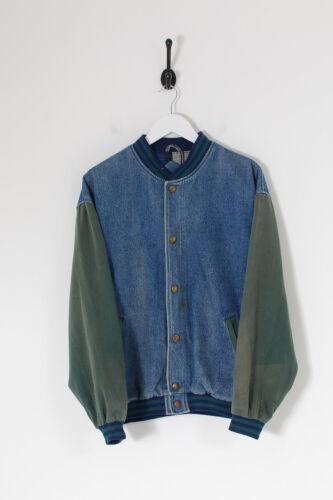 Vintage Men's Denim Varsity Jacket Mid Blue (M)
