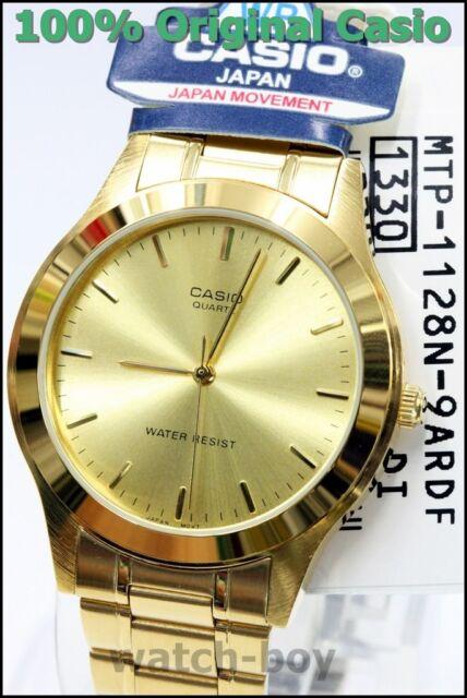 MTP-1128N-9A Gold Casio Men's Watch Stainless Steel Band Analog Quartz Steel