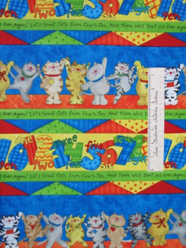 Cat Fabric Kitten Capers /& Numbers Stripe Baby South Sea Imports Cotton YARD