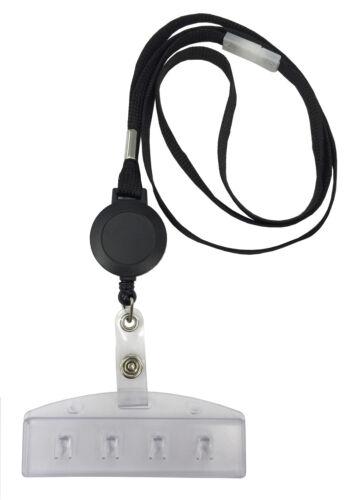 ID Swipe Card Holder With Black Retractable Badge Reel Lanyard FREE P/&P Lot