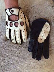 860a27f49461a Men's Driving Gloves Deerskin Leather Yellow Black White Tan Cognac ...