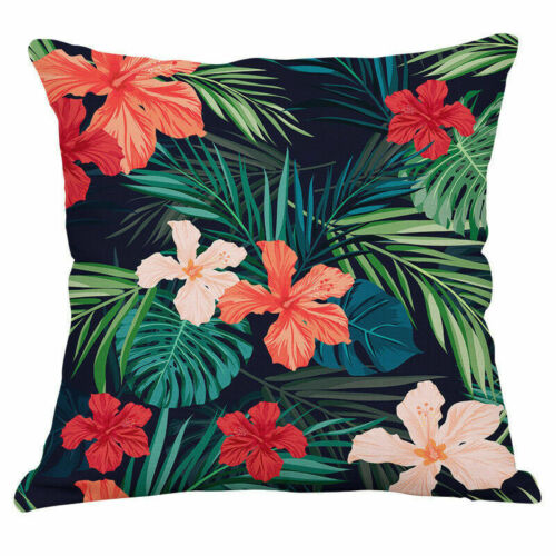 Tropical Flowers Birds Waist Cushion Cover Pillow Case Cotton Linen Home Decor