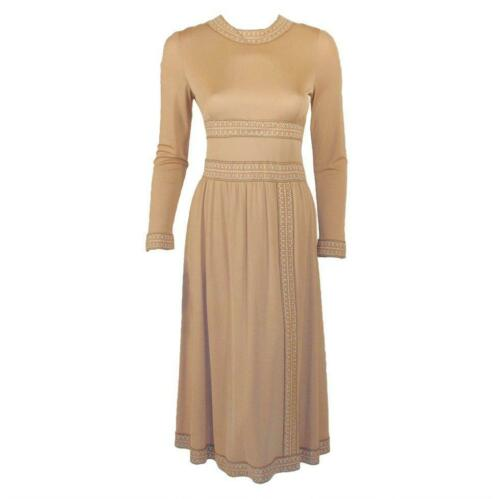 AVERARDO BESSI Tan Silk Jersey Long Sleeve Dress
