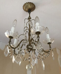 Vintage-Petite-Tole-Crystal-Beaded-French-Chandelier-5-Light
