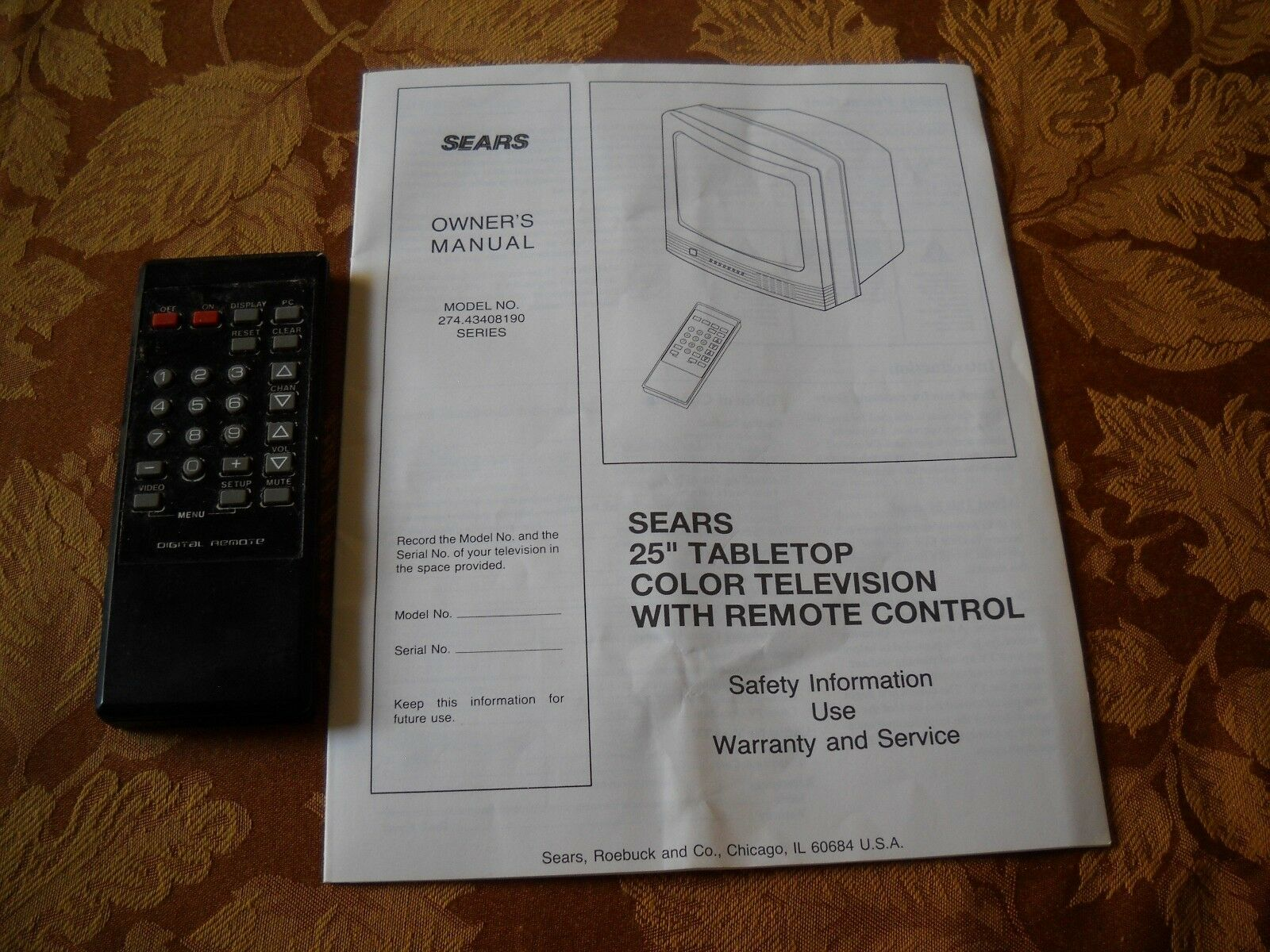 sears lxi 25 diagonally ctr color cathode ray tube tv with remote rh ebay com LXI TV Input lxi tv manuals