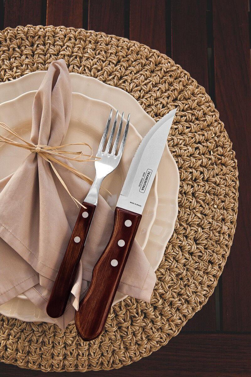 TRAMONTINA Steak Cutlery Set 14 Pcs.Pizza Grill Cutlery Cutlery Cutlery BBQ Fork Knife Churrasco 42aed7
