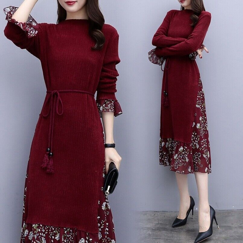 Women's A-line Ruffle Knitted Long Dress Long Sleeve Casual Floral Slim Dresses