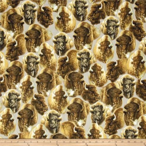 Where The Buffalo Roam in Summer Wilderness Fabric Premium Cotton
