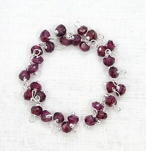 100-Pcs-Natural-RHODOLITE-GARNET-925-Silver-Plated-Wire-Wrapped-Link-Loose-Beads