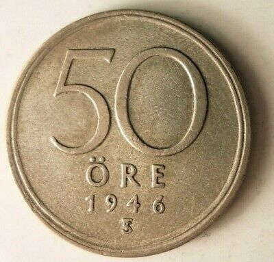 1943 SWEDEN 10 ORE Great Collectible FREE SHIPPING Sweden Silver Bin A