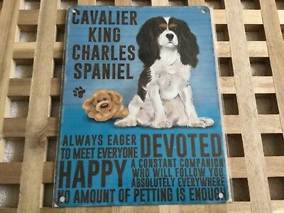 20cm Vintage Style Metal Dog Sign Retro Hanging Plaque CAVALIER KING CHARLES