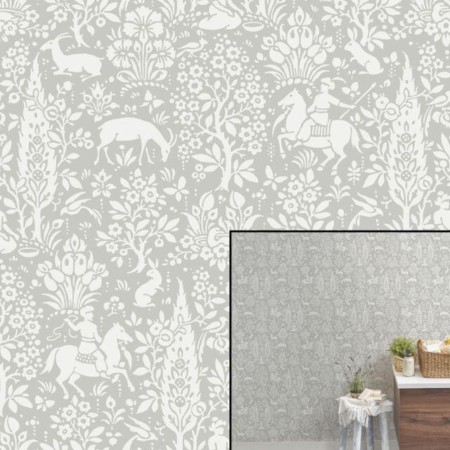 Crown Wallcoverings Woodland Wallpaper Grey M1168 Full Roll