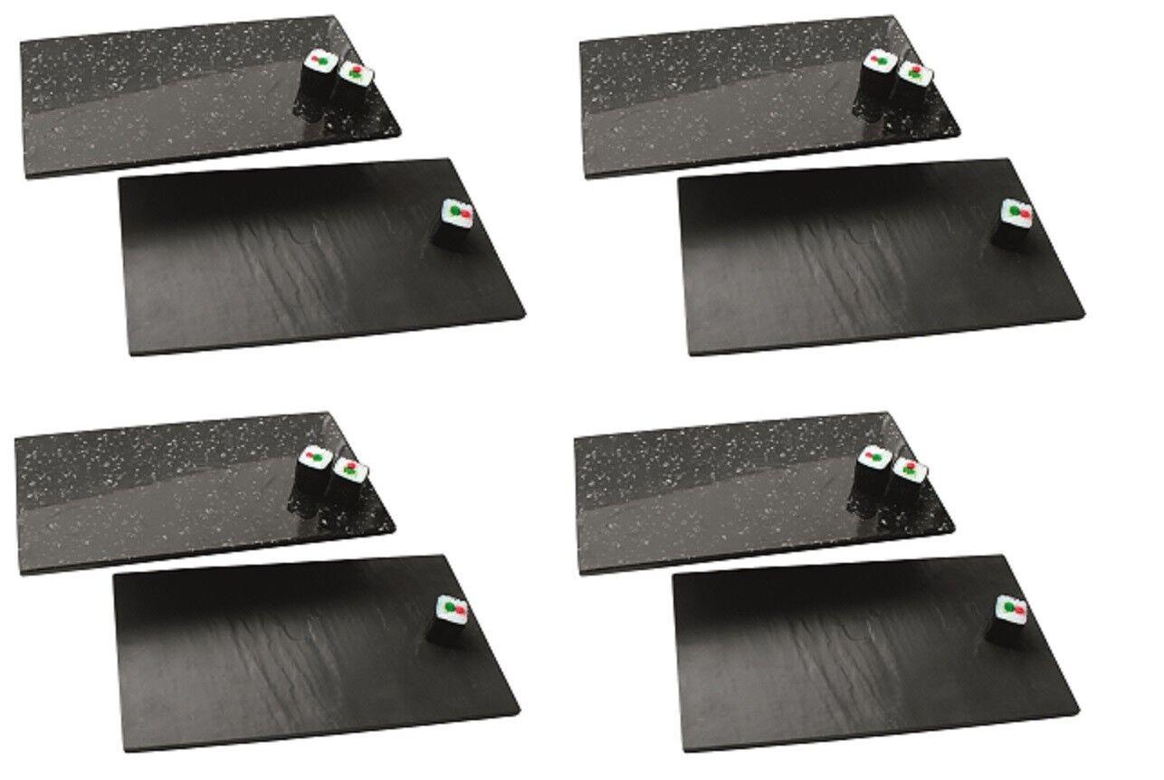 4x Melamine Buffet Plate Slate Granite-look, melaminplatte, gn1 3 17, 6x32,5cm