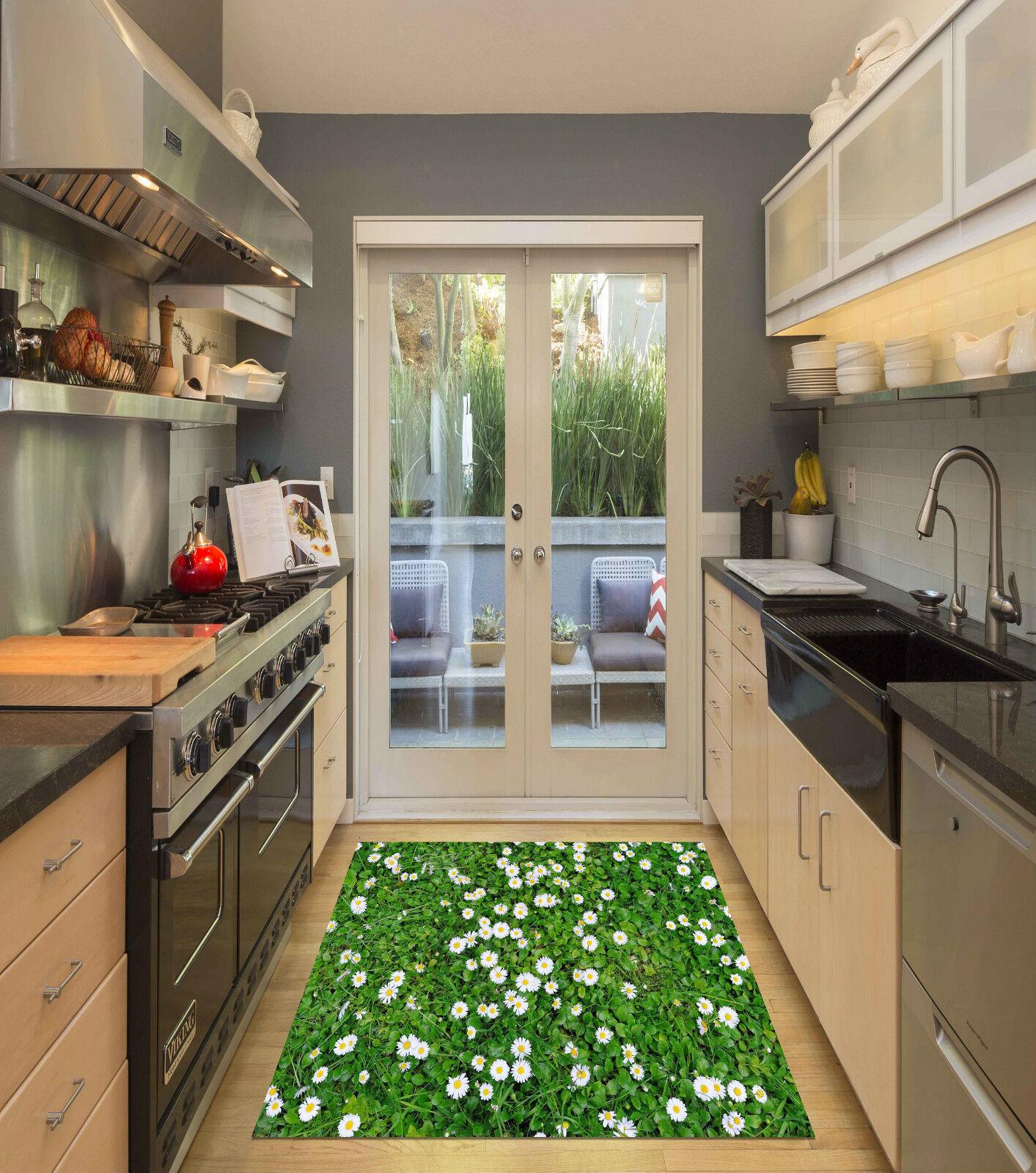 3d Grass Grass Grass Flowers Kitchen Mat Floor Murals Wall Print