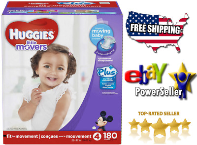 ** Huggies Little Movers Plus Diapers Size 4 Free Shipping 180ct
