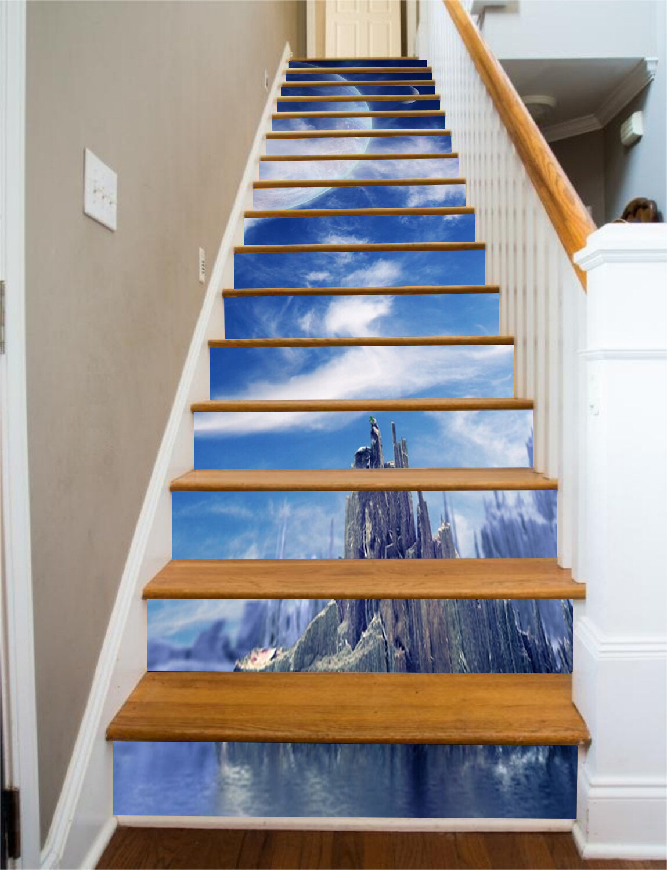 3D Moonlight Hill 7 Stair Risers Decoration Photo Mural Vinyl Decal Wallpaper UK
