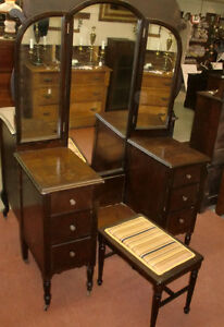 Antique Walnut Tri Fold Batwing Mirror Vanity Dresser With