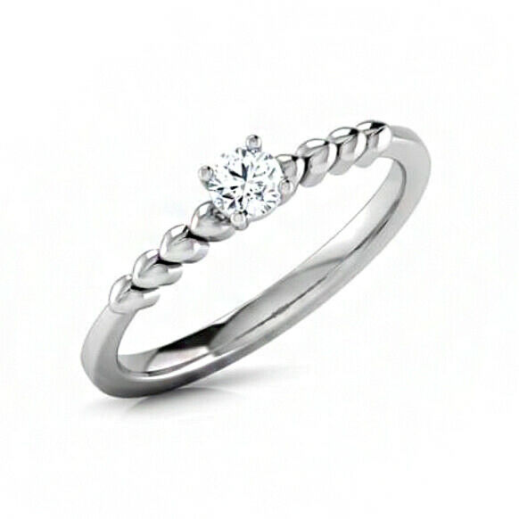 IGI Certified 0.22 Ct Diamond Solitaire 14 Kt White gold Engagement Ring Size 7
